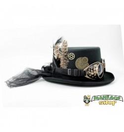 Cappello Steampunk Nero con piume