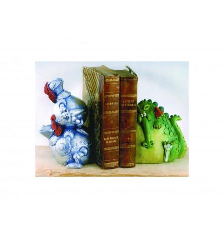 Ferma libri drago e cavaliere